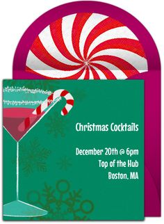 Festive Holiday Cocktail Party Invitations by Punchbowl