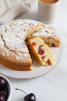 Cherry and Almond Cake. Sweet perfectly moist cherry and almond cake - vegan and gluten free Gluten Free Cakes, Gluten Free Baking, Gluten Free Desserts, Dairy Free Recipes, Vegan Desserts, Baking Recipes, Cake Recipes, Vegan Recipes, Dessert Recipes