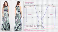 выкройка и моделирование платья из платков или платочного орнамента. Длинное, американская пройма.