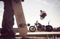 SKATEBOARDING JUMP OVER MOTO