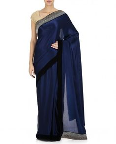 Navy Blue Saree with Embellished Border - Ready to ship