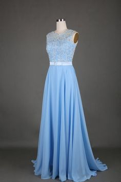 84 Charming A-Line Chiffon Prom Dress,Noble Appliques Evening Dress
