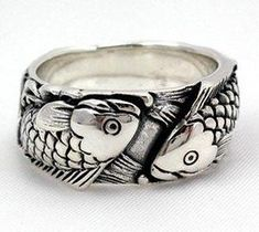 Carp Koi Fish Tattoos 925 Sterling Silver Wedding Band Ring ~New Sz Designer Gothic Jewelry Koi Ring, Fish Ring, Carp Ring, Gothic Ring Wedding Band Tattoo, Tattoo Band, Silver Wedding Bands, Wedding Ring Bands, Unique Wedding Bands, Fish Ring, Sterling Silver Mens Rings, 925 Silver, Biker Rings