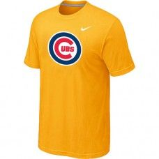 Wholesale Men Chicago Cubs Heathered Blended Short Sleeve Yellow T-Shirt_Chicago Cubs T-Shirt