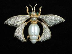 Signed Nettie Rosenstein Rhinestone Trembler Insect Bug Brooch    eBay