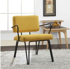 Modern Arm Chair Metal Tube Frame Yellow Fabric Upholstery Living Room Furniture
