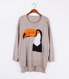 TimAdc parrot pattern graffiti sweater long sweater. by TimAdc, $23.99