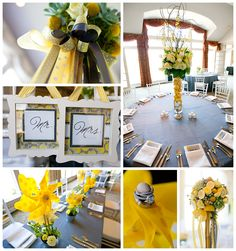 Fun and fresh yellow, gray, and white wedding centerpieces with Sash and Bow and Buds n' Bloom. Wedding at Oneida Country Club in Green Bay, Wisconsin. http://www.diamondsandgoldgb.com/