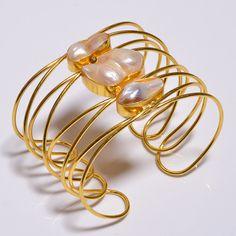 Nice 18 Cts.Vermeil Gold Plated Biwa Pearl Handmade Bangle Cuff Jewelry SR710…