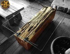 """Nativo Red Wood. Mesa de centro linea """"Natural Wood"""" con base de madero de una pieza de Araucaria Rústica con soportes originales de fierro forjado y cubierta de cristal de 0.80x1.40x15 mm espesor. www.facebook.com/nativoredwoodsa"""