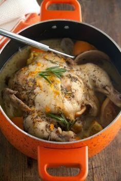 Slow Cooker Orange Rosemary Chicken   The Chicken in the slow cooker turned out perfect!!