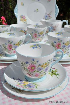 Shelley 'Wild Flowers' Vintage Bone China Tea Set ~ ♧ ~ Wildflowers = Me ~ ♧ ~ :-) Vintage China, Vintage Crockery, China Cups And Saucers, Teapots And Cups, Tea Cup Saucer, Tea Cups, China Tea Sets, My Cup Of Tea, Tea Time