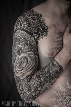 #Thomas Hooper  #dotwork #mandala #tattoos #tattooed #ink #inked #tatt #tatts #roses #bodymodification #sleeves
