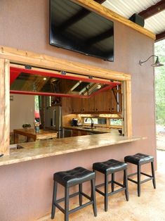 Patio Kitchen Pass-through Window Design, Pictures, Remodel, Decor and Ideas