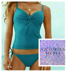 "Victoria's Secret Tankini Top Turquoise Victoria's Secret Tankini Top, in excellent condition. Measures 16"" long,  size 36C, 80% nylon, 20% elastane. *only top is for sale! Photos 2-4 are of actual top for sale. No trades. Victoria's Secret Swim"