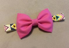 Baby and Toddler Headband - Pink Bow on Yellow Aztec - Baby Accessory  on Etsy, $6.00