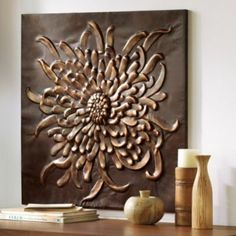 "Chrysanthemum Wall Art Hanging,  http://www.grandinroad.com, 29"" square, $99. Wondering about spray painting some metal wall art I have in a metallic color rather than white/other..."