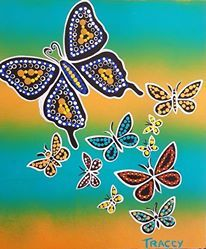 My first Aboriginal Dot Painting #butterflys #aboriginal Art