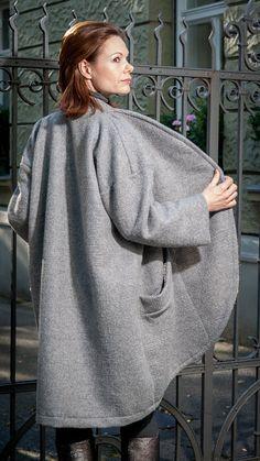 Lange mantelOversized Mantel Isi Wolle Grau Wool von RoteTulpe