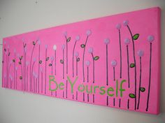 Hot Pink Lime Green Abstract Flower Painting by jmichaelpaintings