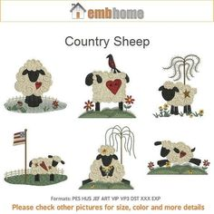 Country Sheep Machine Embroidery Designs Instant by embhome Broderie Primitive, Primitive Embroidery, Christmas Tree Garland, Christmas Cards To Make, Iron On Patches, Machine Embroidery Designs, Sheep, Kids Rugs, 4x4