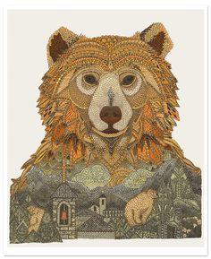 European Brown Bear by Claire Scully - London based illustrator fantastic illustration of nature vs urbanization Art And Illustration, Illustrations, Christmas Illustration, Bear Totem, Bear Art, Art Design, Spirit Animal, Animal Drawings, Urban Art