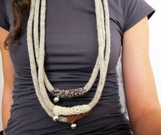 3 Tubes Knit & Crochet Jingle Necklace 100 Virgin by yorokobiness, €27.00