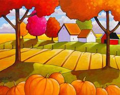 Country Pumpkins Field Tree Color Farm Cottage Giclee Autumn Landscape 5x7 Art Print by Cathy Horvath Modern Folk Fall Reproduction Artwork