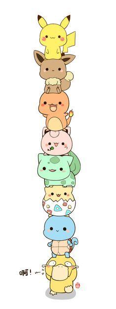 Pikachu, Evoli, Salamèche, Rondoudou, Bulbisard, Toguépi, Carapuce, Psycoquaque. Il sont cute mais...Le pauvre psycoquaque il les porte tous. je le plaint