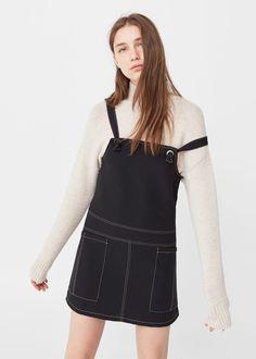 Stitched pinafore dress   MANGO