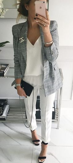 Gray checked blazer with all white.