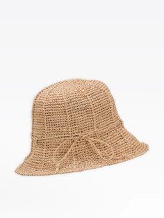 chapeau nora en raphia beige   agnès b. Beige, Bucket Hat, Crochet Hats, Fashion, Hat, Knitting Hats, Moda, Bob, Fashion Styles