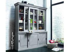 vaisselier en pin gris l 145 cm - newport | salons, furniture