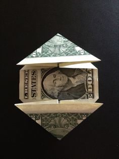 How to fold a $1 dollar bill - B+C Guides Fold Dollar Bill, Dollar Bill Origami, Money Origami, Thing 1, One Dollar, Decorative Boxes, Triangles, Corner, Times