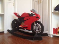 Motorcycle Rocking Horse - 5 Kinds Of Awesome - Cool Kiddy Stuff Motorcycle Rocking Horse, Kids Rocking Horse, Diy Baby Bibs Pattern, Baby Bibs Patterns, Diy Gifts For Kids, Diy For Kids, Wooden Kayak, Making Wooden Toys, Diy Pillows