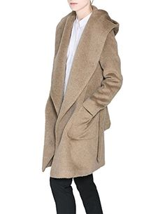HaoDuoYi Womens Hooded Pocket Waist Tie Plain Trench Coat(M,Camel)