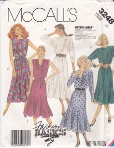 Uncut McCall's Sewing Pattern 3248 Cowl Neckline or by Ziatacraft