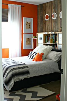 boys modern room makeover_orange accent wall