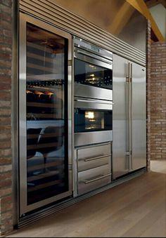 Wine fridge - sub-zero appliances… commercial kitchen design Home Kitchens, Kitchen Remodel, Luxury Kitchens, Kitchen Design, Modern Kitchen, Dream Kitchen, House Interior, Sub Zero Appliances, Wine Cabinets