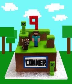Minecraft Cake toppers and complete decoration kit. $70.00, via Etsy.