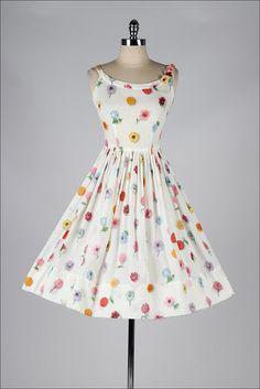 vintage 1950s white floral print cotton sun dress