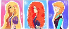 Tangled's Rapunzel, Brave's Merida, & Frozen's Anna  - Tumblr