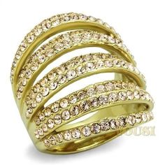 Womens IP Gold Light Peach Crystal Ring RI0T-07833