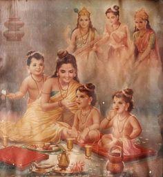 Ansuya mother of Dattatreya (One Head) (Trimurti of Forms Godhead Brahma Vishnu Shiva) Consort Tridevi Saraswati Lakshmi Parvati Shiva Parvati Images, Shiva Hindu, Hindu Deities, Hindu Art, Krishna Statue, Krishna Art, Hare Krishna, Guru Wallpaper, Iphone Wallpaper