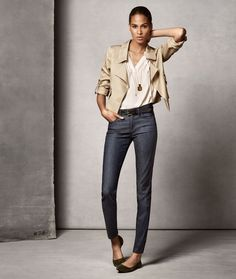 A figure-flattering fit and dark wash elevate Ann Taylor's Refined Denim collection.