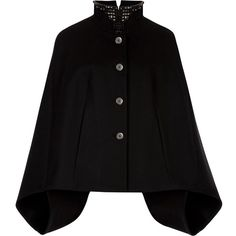 Ted Baker Embellished Collar Cape, Black ($250) ❤ liked on Polyvore featuring outerwear, coats, jackets, cape, cape coat, ted baker coat, short coat, short capes and high collar coat
