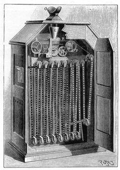 Een van de eerste film apparatuur uit 1894, een kinetoscope