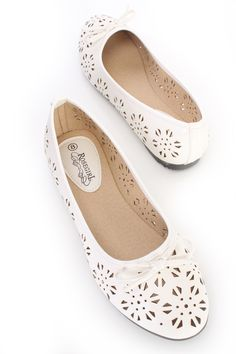 White Perforated Bow Tie Ballet Flats Faux Leather