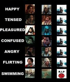 The many facial expressions of Ezio, Connor & Altäir. Poor Altair...