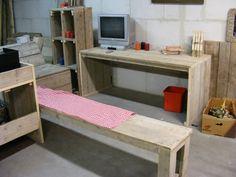 Bureau tafel 70x180cm van oud gebruikt steigerhout (22131434) | Bureautafels / Vergadertafels | JORG`S Houten Meubelen